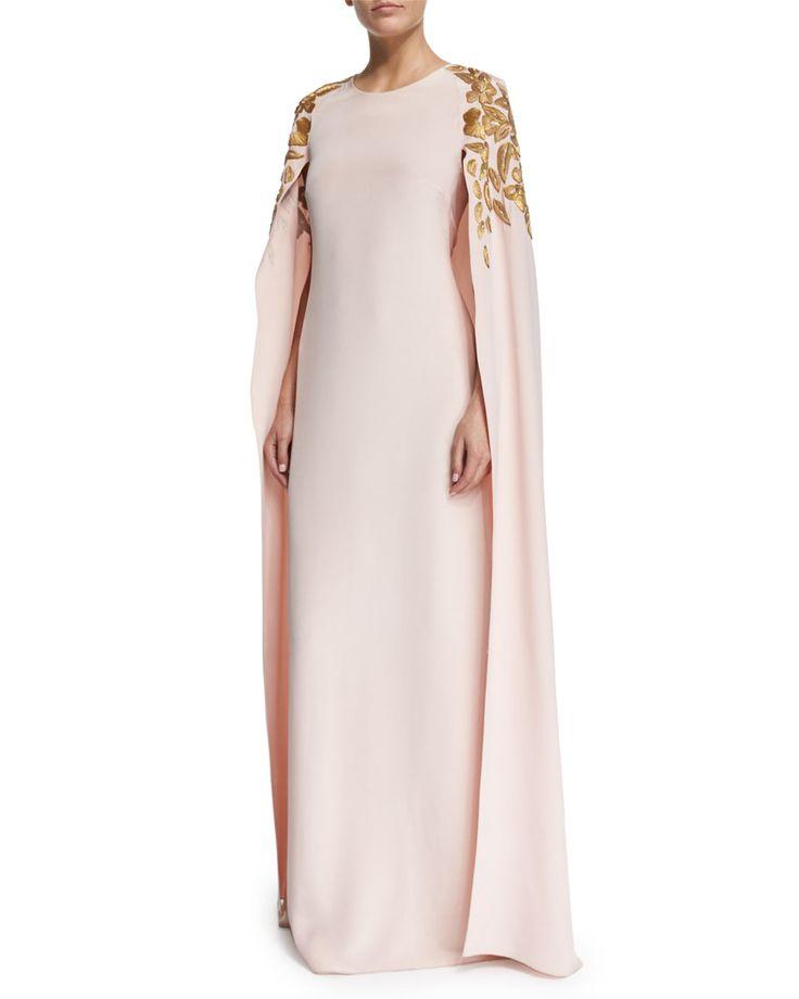 Floral Appliqué Caftan Gown, Soft Pink/Gold, Sftp W/Gold - Oscar de la Renta