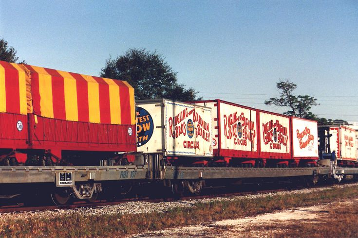 The circus comes to town! For three decades this is how the Ringling Brothers Circus has moved around the country. There are cars with living quarters so you have your own place to live. Other cars are for animals and equipment. The box cars have wheels and removed from the flat bed and driven to the precise location where the tent is set up.
