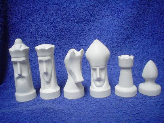 Ceramic Bisque 32 Piece Arnel Modern Chess Set - Ready-to-Paint - E289