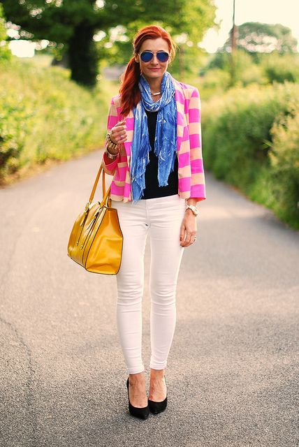 Pink neon stripes, white skinnies by Not Dressed As Lamb