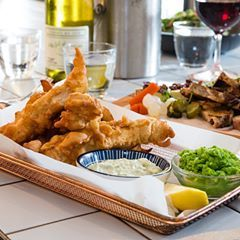 For lunch today, try our Beer battered fish & hand cut chips. John dory, mushy peas, pickled onion, tartare sauce. Sure to put hair on your chest and a pep in your step.