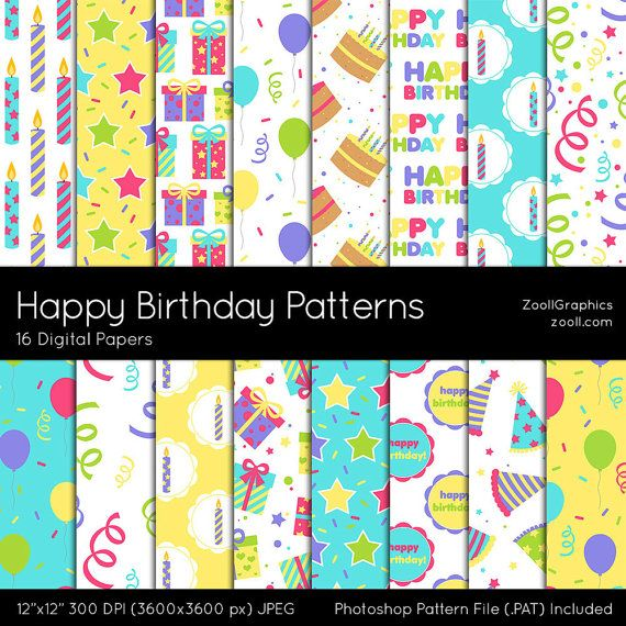 Happy Birthday Patterns Digital Paper 16 Digital by ZoollGraphics