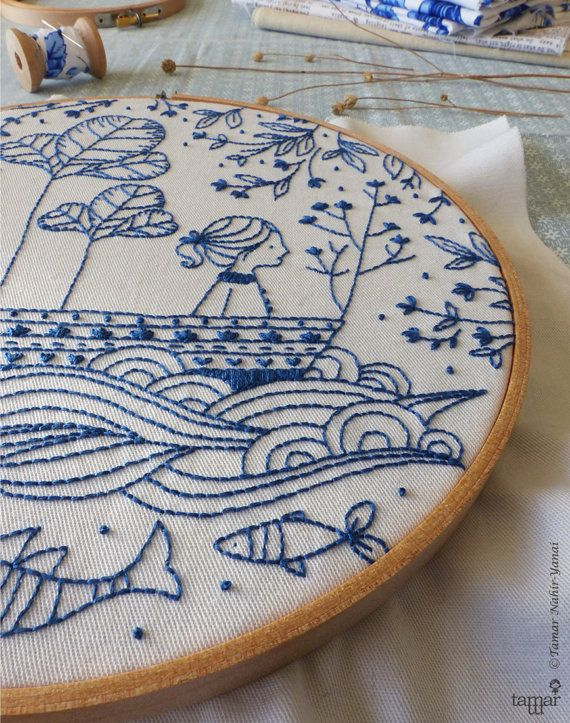 DIY kit Blue wall art Sea blue Hand embroidery by TamarNahirYanai