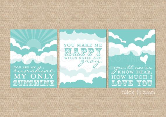 You are My Sunshine Art Prints for Nursery / Kids by PaperRamma, $52.00