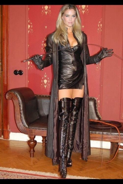 Wifey dressed in leather suit mistress any