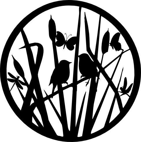 Jardín, pájaros y mariposas Silhouette