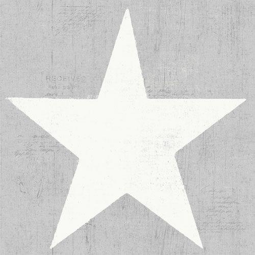 Stora vita stjärnor på grå trämönstrad botten från kollektionen Hantverk, 17325. Klicka för fler fina tapeter till ditt hem!