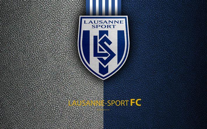 Indir duvar kağıdı Lausanne-Sport FC, 4k, Futbol Kulübü, deri doku, logo, amblem, İsviçre Süper Lig, Lausanne, İsviçre, futbol