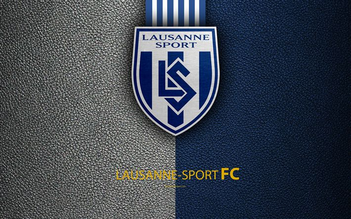 Download wallpapers Lausanne-Sport FC, 4k, football club, leather texture, logo, emblem, Swiss Super League, Lausanne, Switzerland, football