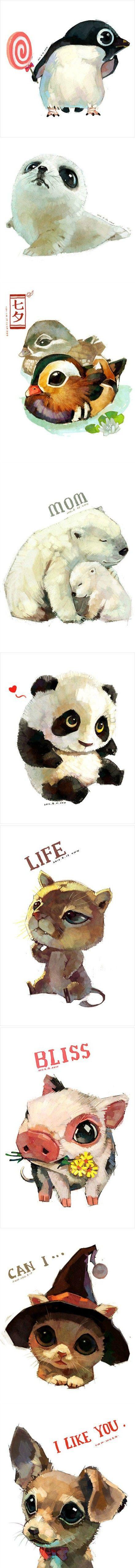 超萌的动物插画作品,每个都是大眼睛,真心萌爆了啊
