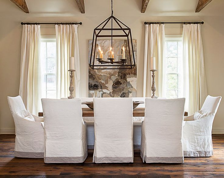 Like The Clean Look Of White Slipcovered Dining Chairs Combined With Strength Large Black Pendant Light