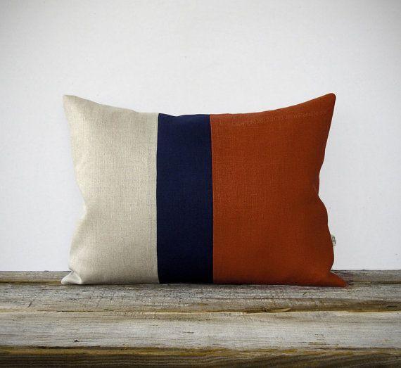 Color Block Stripe Pillow in Rust, Navy and Natural Linen by JillianReneDecor (12x16) Southwestern Home Decor Stripe Trio