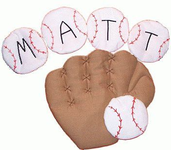 Baseball and glove fabric wall art for a boys sports themed room. Would look great on a nursery wall!