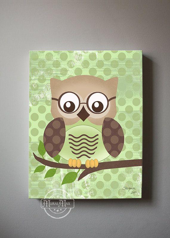 Owl Decor Boys wall art - OWL canvas art, Baby Nursery Owl 12x16  woodland whimsical nursery art