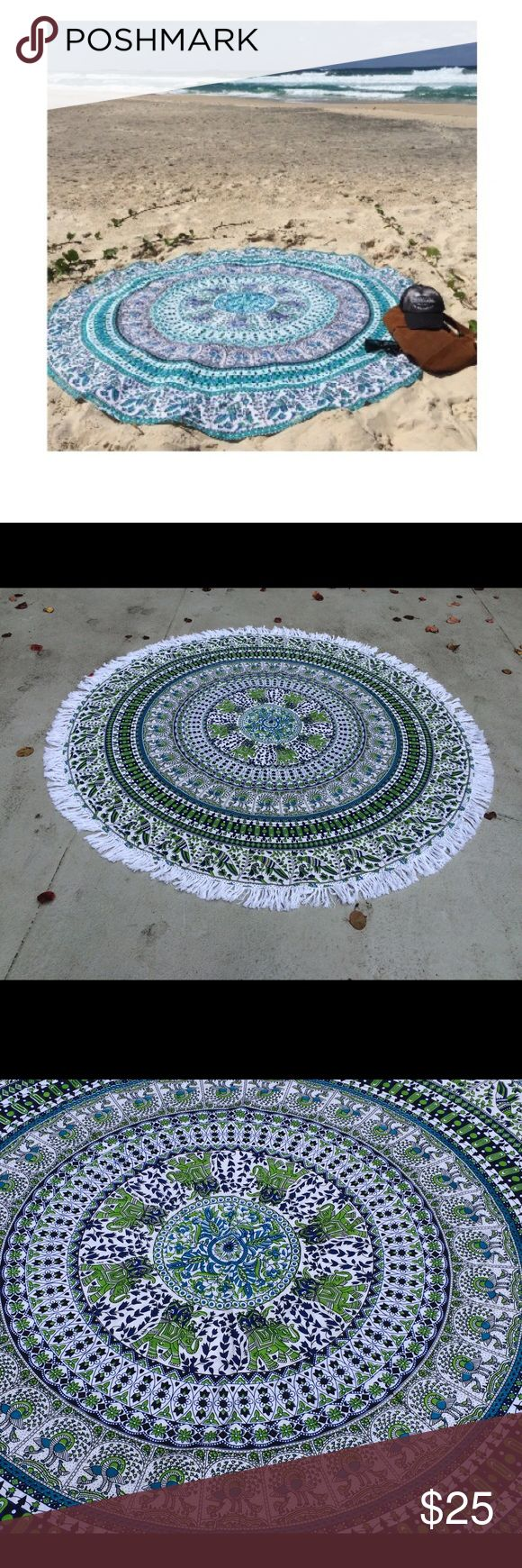❤Beach floor spread mandala perfect gift 💥 🎉❤️Follow me on Instagram to get discount! #rhyayfashion. Let me know with your username 😘  Round tapestry handmade with natural dyes.  Usages: floor mat ,yoga mat, picnic spread, couch spread, special occasion gift, birthday gift,  Brand new.  Size: 180Cm (72inch) Diameter  Material: 100% Cotton Wash: Cold hand wash Website. Rhyayfashion.com Other
