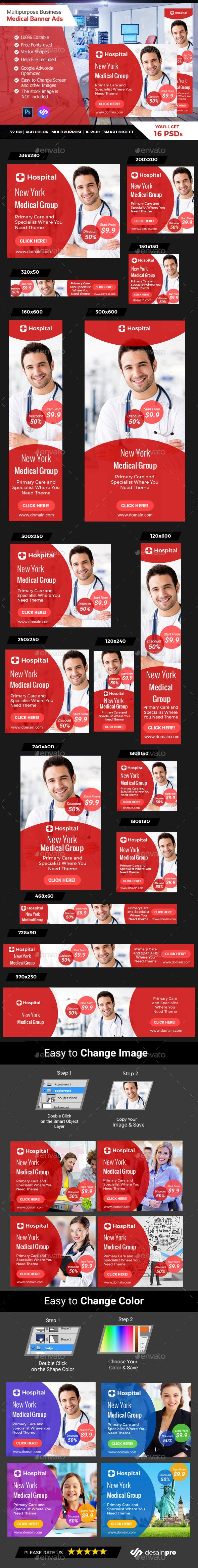 Red Doctor Medical Banner Ads - Banners & Ads Web Elements