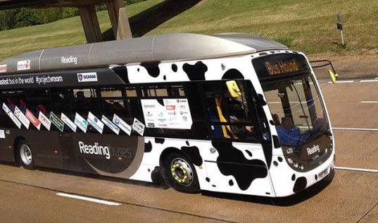 Reading Buses, cow's poo-powered bus, Bus Hound, Millbrook Proving Ground, cow poo, green transportation, poo power, UK power, bus speed record