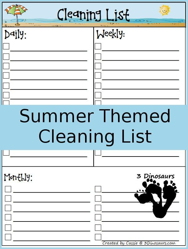 Free Summer Themed Monthly Cleaning Chart Printable - 4 different options- plus my monthly goals - http://3Dinosaurs.com