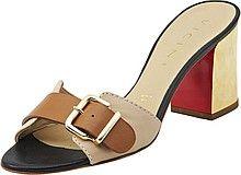 сабо, женские, коричневые, кожаные, на среднем, толстом каблуке