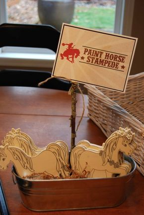 Room to Inspire: Cowboy and Cowgirl Birthday Party - Something for older kids to do @Kelsey Posvar - this could be a fun activitiy, wonder if Joann's has horses?!?!