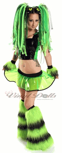 Lime and Black Vinyl Rave Cyber Outfit  This will be mine in a month!