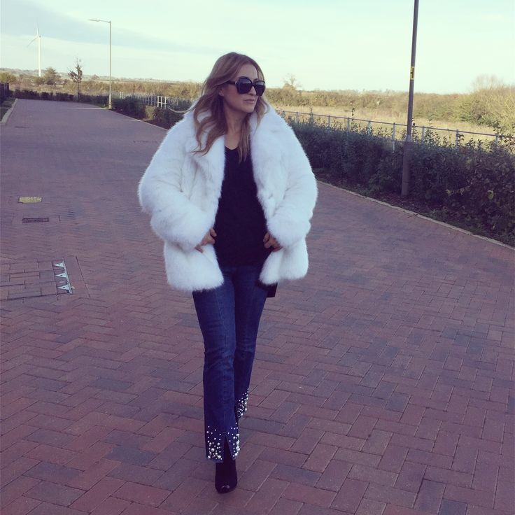 Michael kors white faux fur coat, pearl embellished jeans, sock boots by Stella McCartney, winter style