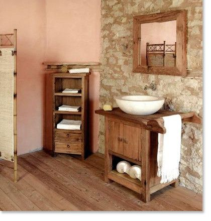 Small Rustic Bathroom With Wood Flooring Wood En Vanity