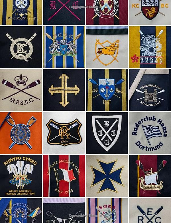 Rowing Blazers. Embroidered Crests from top left to right. Eton Excelsior. Twickenham. Stratford-Upon-Avon.(KCBC). Quinton. Peterborough. Queens University Oxford. Royal Hong Kong. St Peters School. University College Oxford . Hull. Cantabrigian. (Syracuse) Reading RC. CCBC. Ruderclub Hans Dortmund. Welsh Amateur Rowing Association. Mortlake Anglian & Alpha. Hearne Bay. Shiplake College. Nottingham. Durham University. H.O.R.S. Evesham RC