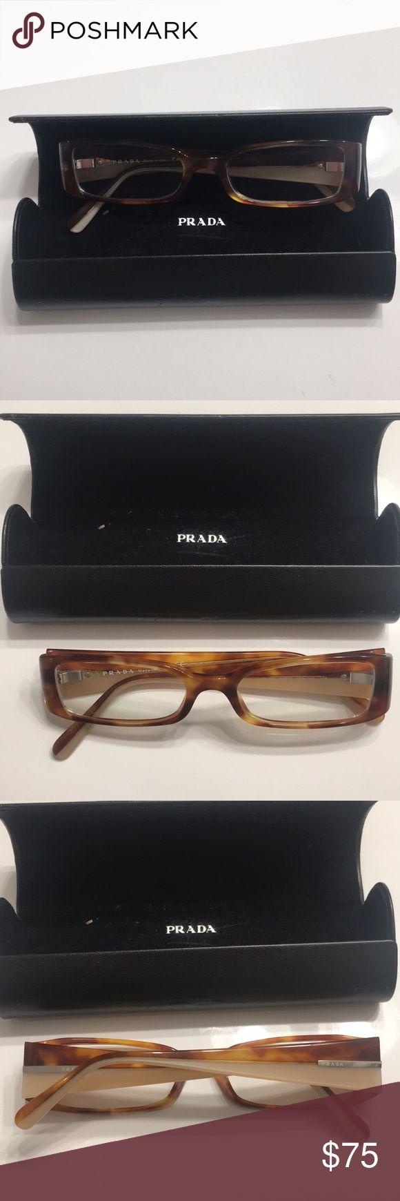 Prada prescription eyeglasses Tortoise Prada prescription eyeglasses. Worn, but in great condition! Comes with Prada case! Prada Accessories Glasses