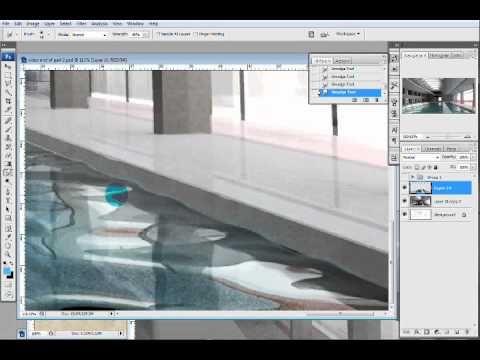 Pool illustration part II: architecture photoshop rendering - YouTube