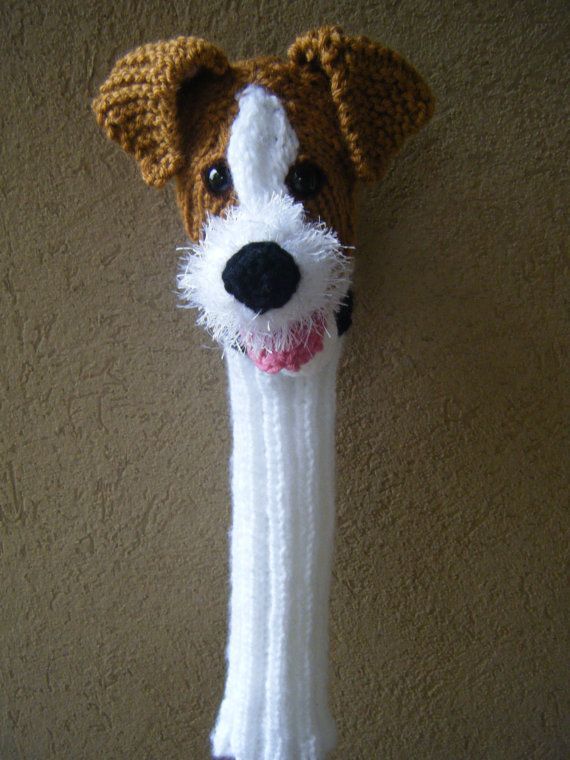 Completely hand knit Jack Russell terrier golf club cover ready to ship for C...
