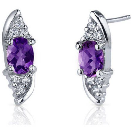 FB Jewels Solid Sterling Silver Rhodium Plated Diamond /& Sapphire Oval Post Earrings