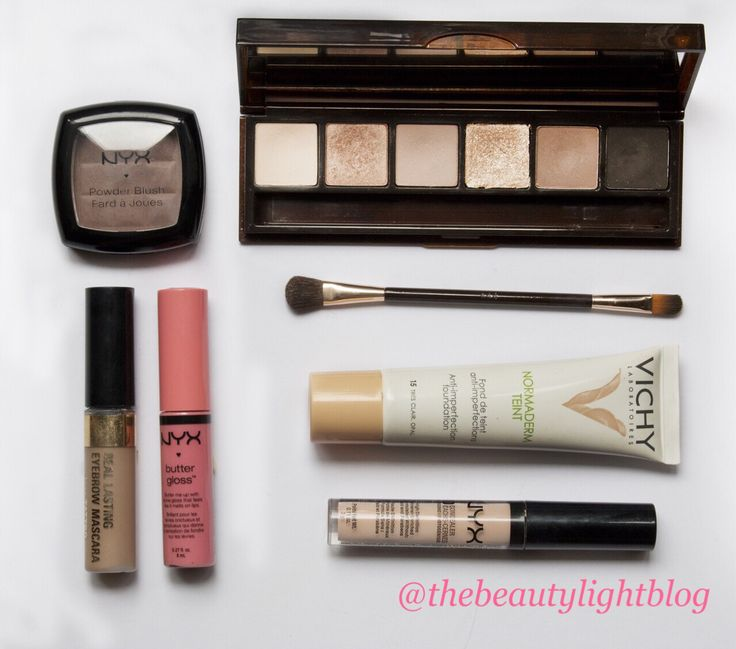 Bobbi Brown palette, Vichy foundation, NYX buttergloss, concealer and blush in…