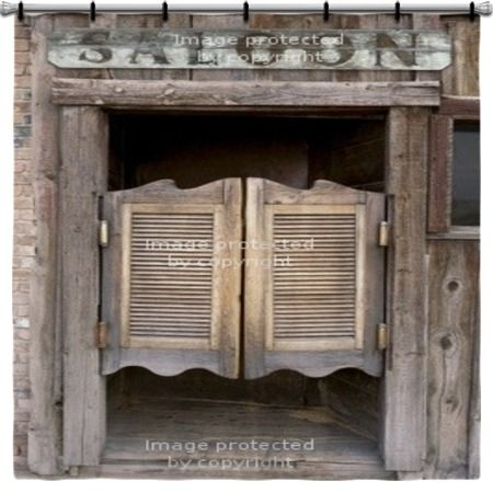 Old Western Swinging Saloon Doors With Sign Shower Curtain at http://www.visionbedding.com/old-western-swinging-saloon-doors-with-sign-shower-curtain-70x70-p-2403958.html  #Home Decor,#Old Western Swinging Saloon Doors With Sign Shower Curtain 70x70