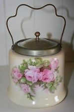 Antique biscuit barrel / jar EPNS silver plate signed hand painted ROSES auth
