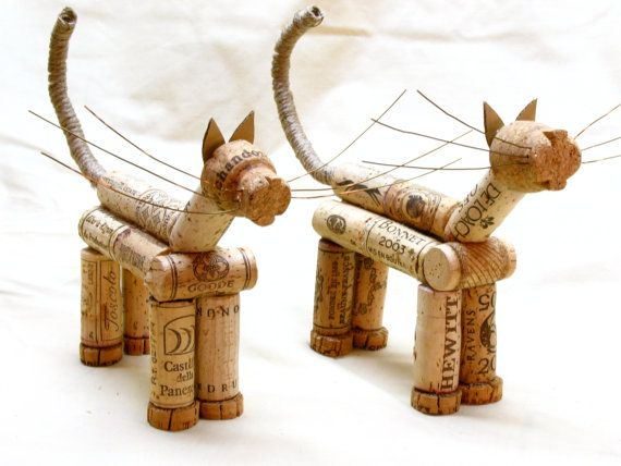 Whimsical Cork Cats. Art for cat lovers and wine by corkhorse, $40.00