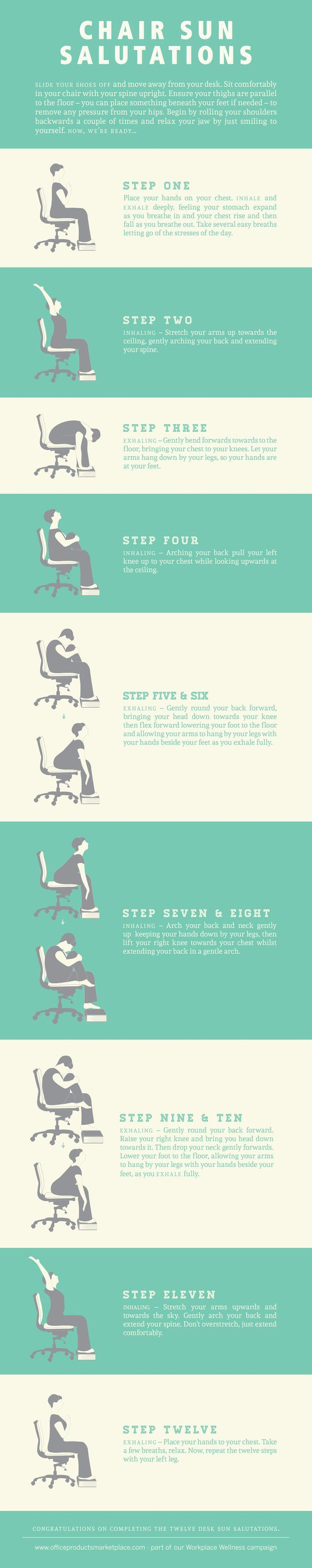 For those of us who are tied to our desk, here are some exercise options that will either make you feel better about yourself or more awkward in the office. Full-on chair Sun Salutation. #busyfit
