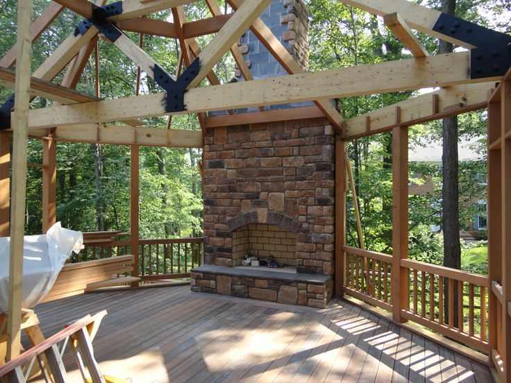 56 best images about log cabin dreams on pinterest for Plans for gazebo with fireplace