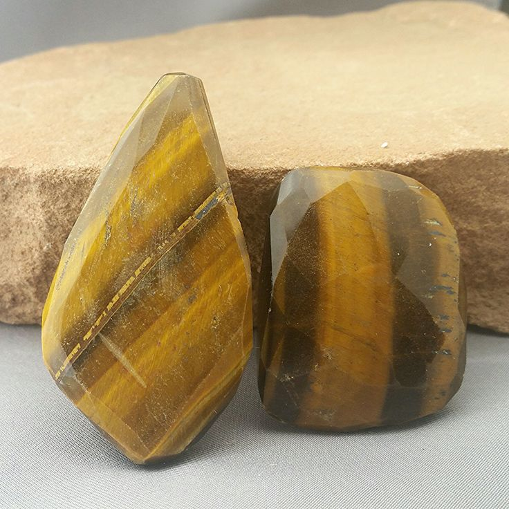 Huge 2pc Set Tiger Eye Faceted Nugget Pendant Focal Centerpiece Beads Free Ship TG8P8F0005 by UngarImpex on Etsy