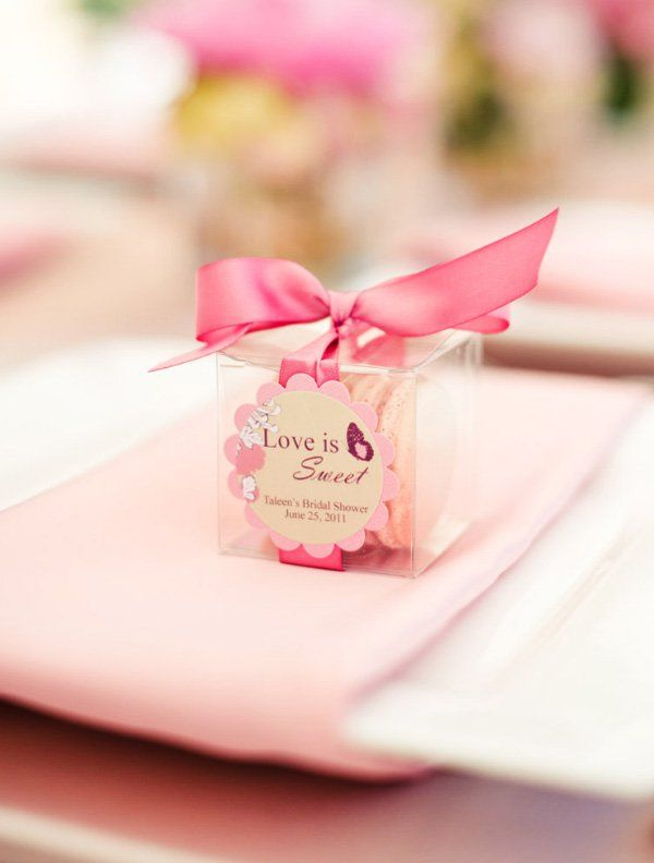pink bridal shower macaron favors