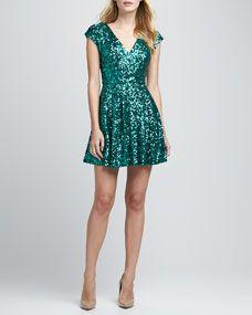 Spectacular Sparkle Cap-Sleeve Dress