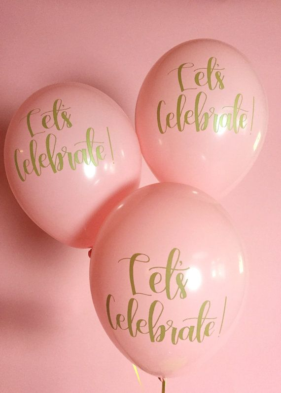 Calligraphy Balloons | Hand Lettered Balloons | Pink and Gold Balloons | Set of 3 printed balloons | Free Shipping*