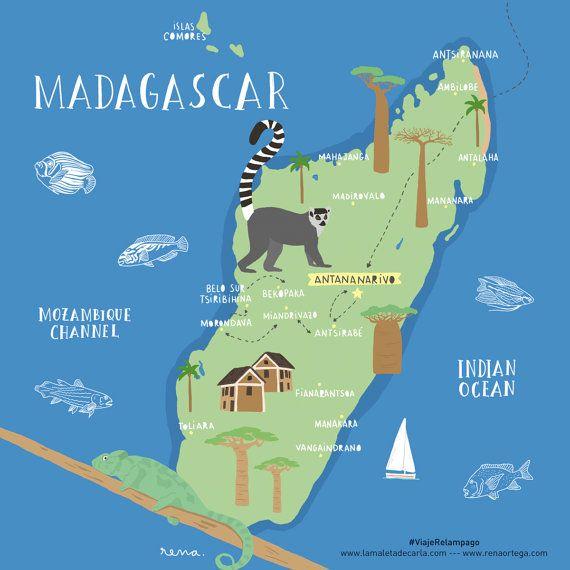 Lámina mapa Madagascar Madagascar illustrated map por TropicoPolar