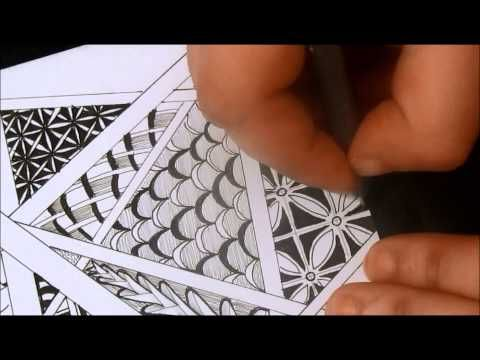 Great Video by Tiffany Lovering using several tangle patterns. Zentangle With Sharpie Blended Lines