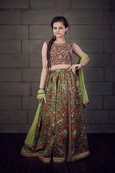 Chanderi lehenga choli with net dupatta for kids by #Benzer #Benzerworld #Kidswear #IndianwearForKids #Lehenga #GhagraCholi