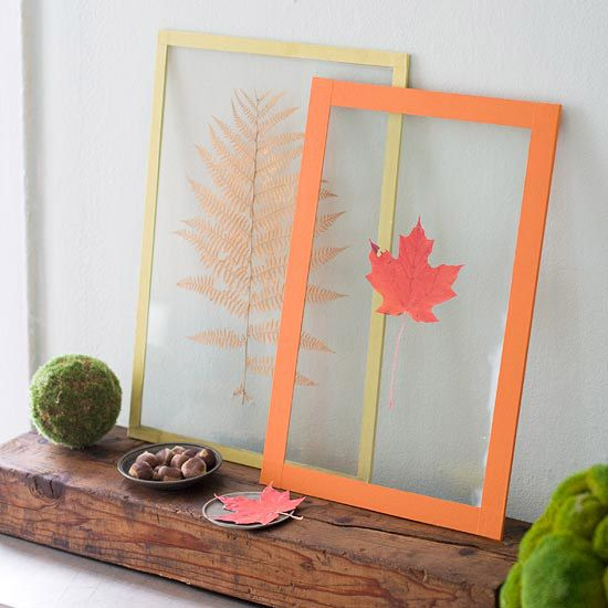 To create pressed leaves for fall crafts, place leaves between layers of newspapers and weigh down with a stack of books. Let dry for a couple of days, then iron each leaf between two pieces of waxed paper to enhance the color of the leaves, using a pressing cloth to keep wax off the iron.