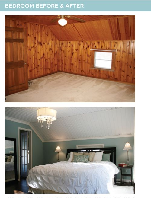 Great paneled room make over. The blog has before and after shots of the whole house.