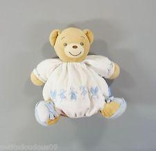 Doudou boule ours velours blanc bleu Kaloo 22 cm