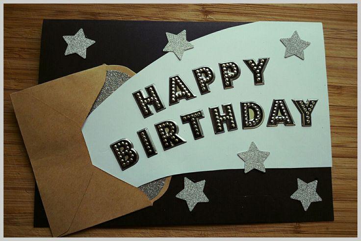 Handmade birthday card with envelope and stars detail #handmadecards #birthdaycard