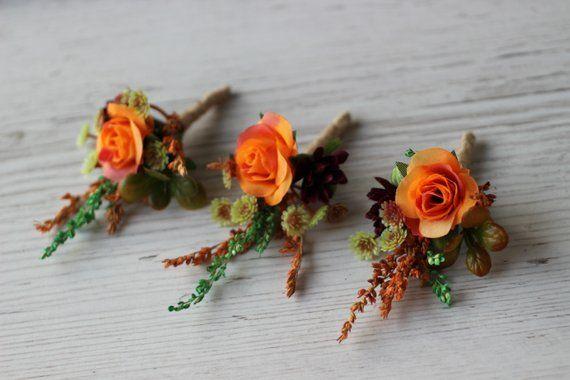 Rustic Wedding Boutonniere Dried Flower Boutonniere Dried Groom/'s Boutonniere Dried Orange Buttonhole Orange Wedding Boutonnieres